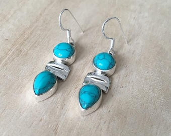 Turquoise silver earrings, Dangle turquoise silver earrings, Drop Earrings, Two stones turquoise earrings, Gift for her