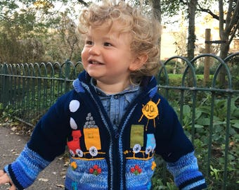 Train sweater boy/baby cardigan, Knitted  cardigan with train motifs,  Toddler pullover