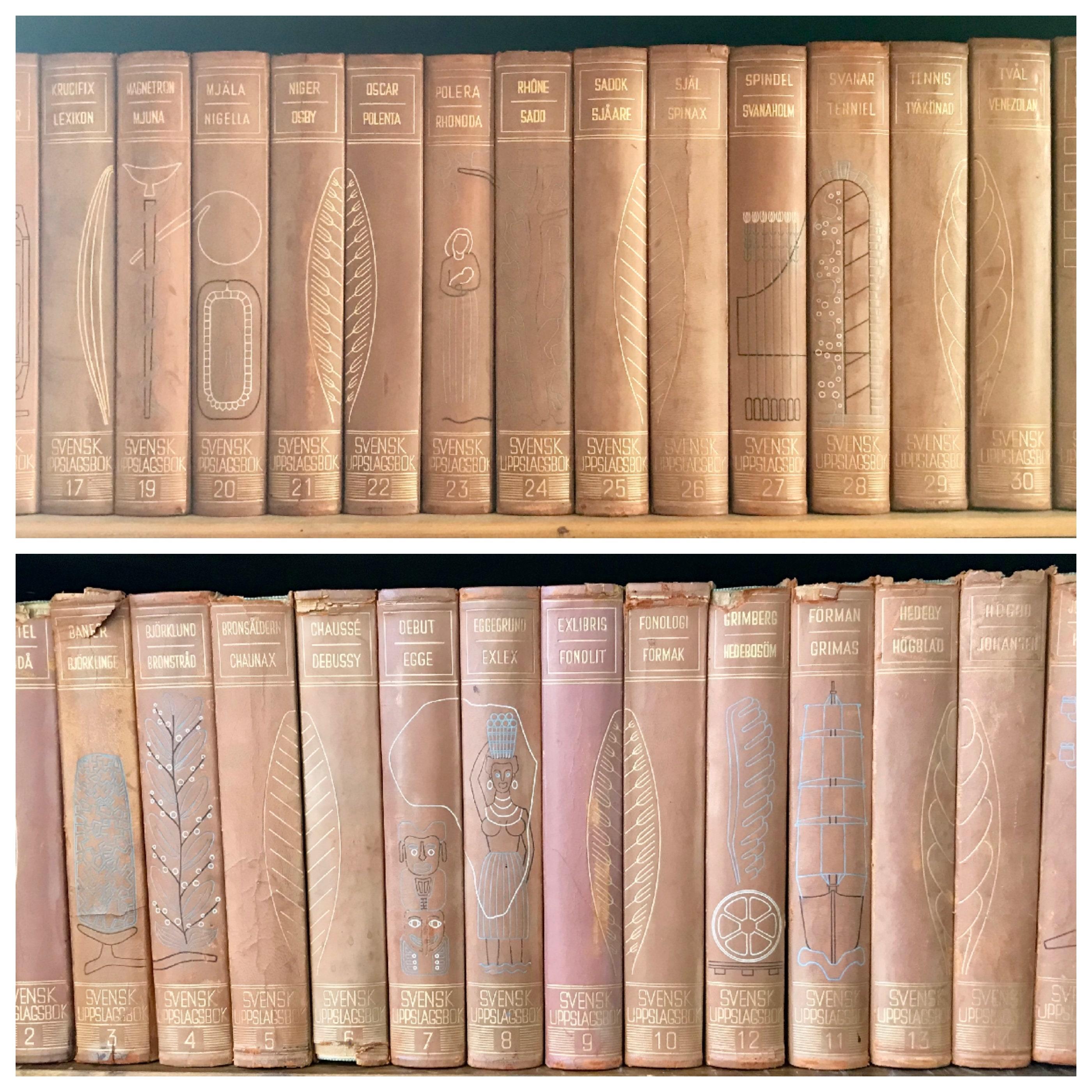 Large Vintage Encyclopedia Set Sweden Intricate Pictorial - Large decorative maps