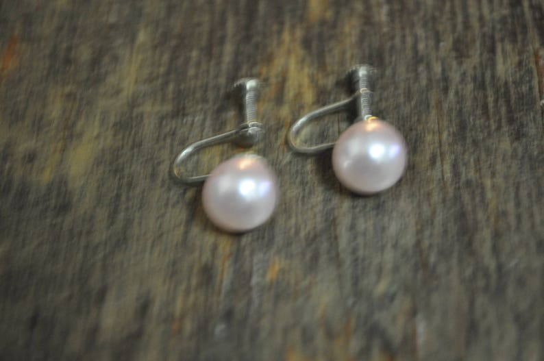 Clearance Item*** Vintage 1950s Faux Pearl Blush Earrings Excellent Condition. Screw Back