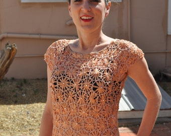 Vintage 1960s Salmon Circular Lace Top with Rhinestone Detail