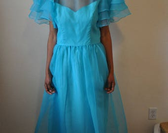 Vintage 1970s Handmade Teal Floor Length Formal Gown with Sheer Overlay and Ruffle Sleeves