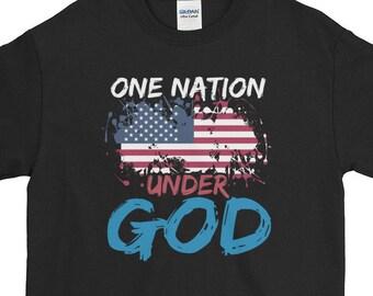 d132661c8 Unisex One Nation Under God T-Shir,t Patriotic Christian Gift Shirt, USA Flag  Tee, Short-Sleeve T-Shirt
