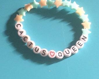 Cactus queen beaded pastel kawaii bracelet