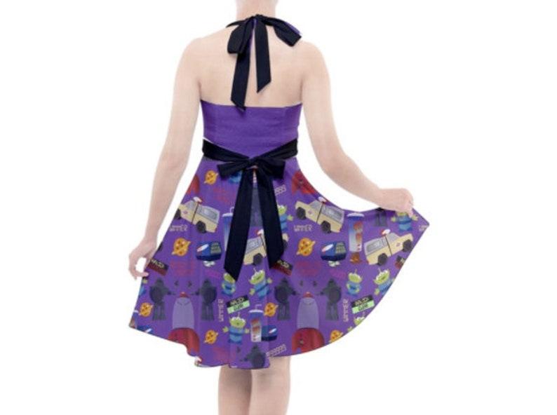 Pizza Planet Purple Inspired Halter Dress