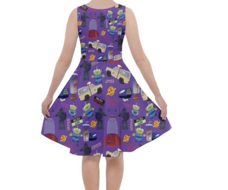 Pizza Planet Purple Inspired Knee Length with pockets! Skater Dress