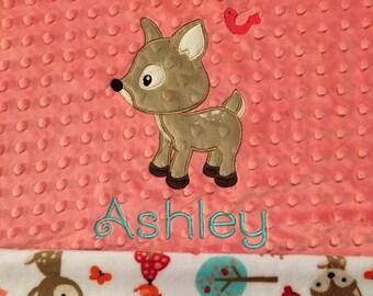 Deer Baby Blanket, Woodland Animal Blanket, Deer Minky Blanket, Double Minky Blanket, Personalized Blanket