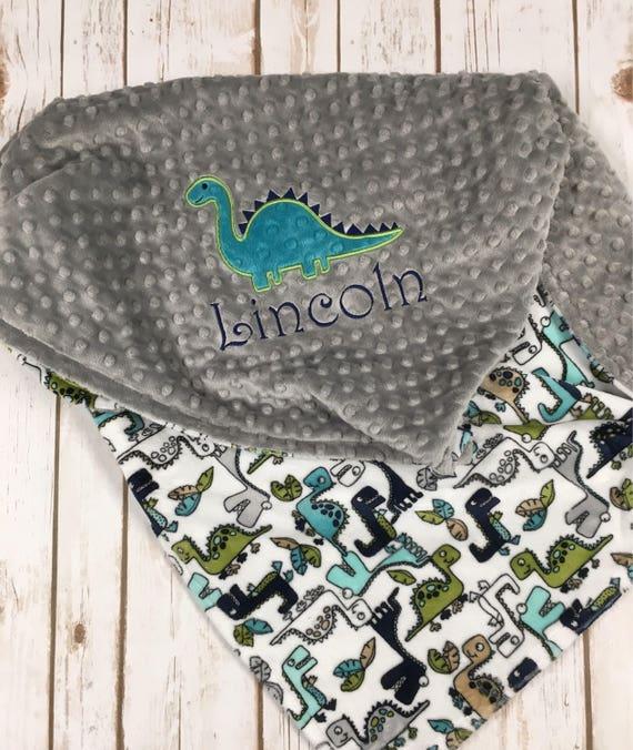 d1627fa8eb Dinosaur Minky Baby Blanket Dinosaur Baby Blanket Grey
