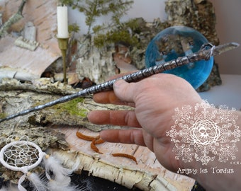 "Magic wand named ""Timtartimni"" made entirely by hand, and having a tangerine quartz encrusted at its end"