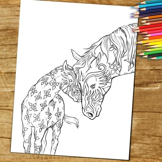 Adulto libro para colorear Caballo Para Descargar y | Etsy