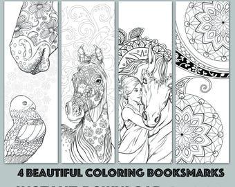 Instant Download Bookmark Coloring Horse Animal Flower Designs, printable PDF SALE