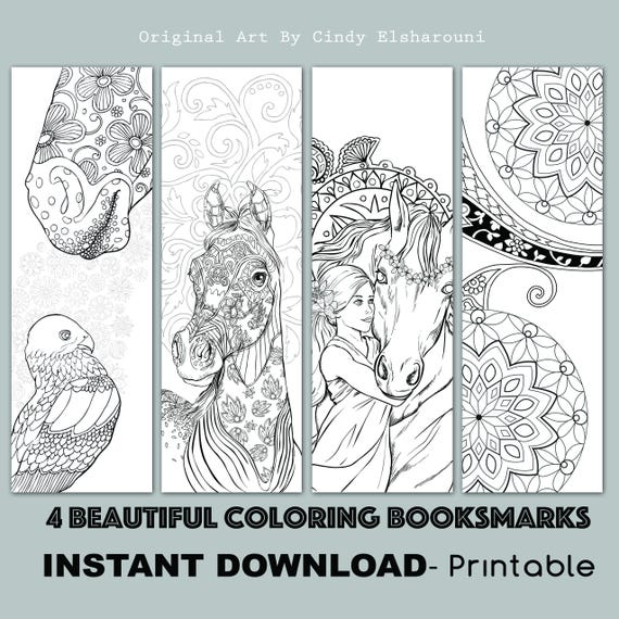 D.I.Y Book Mark Prints Instant Download Bookmark Coloring Horse Design  Flower Designs Printable Adult Coloring Mandalas PDF SALE 25% OFF