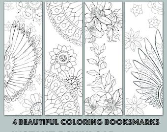 Instant Download Bookmark Coloring Horse Animal Flower Designs, printable PDF SALE 25% OFF