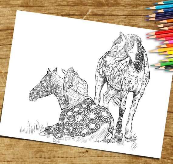 Adult Coloring Book, Page from Coloring Book For Adults, Horse, Equine Art,  Colouring Page For Download