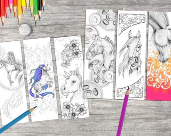 Instant Download Bookmark Coloring Horse Animal Flower Designs, printable PDF -SALE!