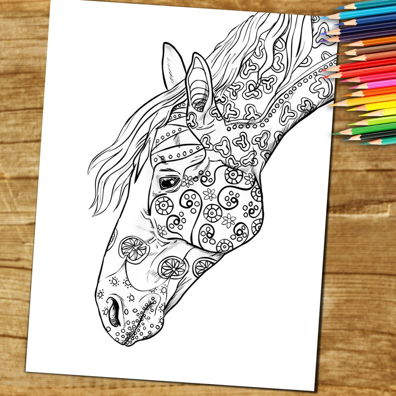 Printable Coloring Pages Adult Coloring Book Page  Horse  image 0