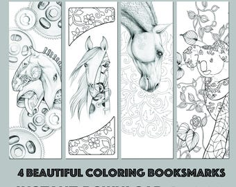 Instant Download Bookmark Coloring Horse Animal Flower Designs, printable PDF SALE 25 % OFF