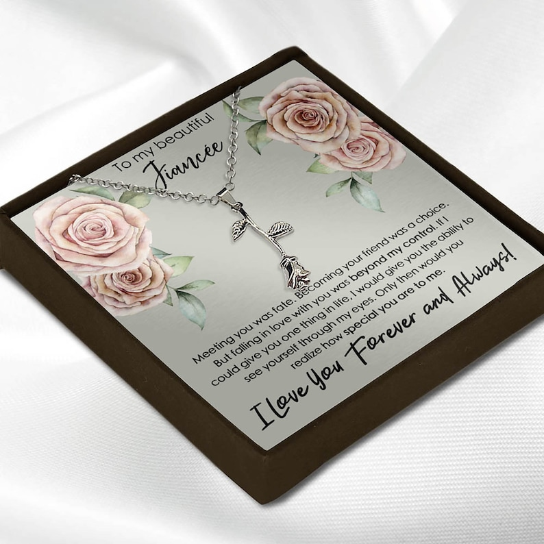 Fiancee Future Wife Message Card Gift Necklace and Pendant for Her Mother/'s Day Anniversary Birthday Poem Saying Hearts Interlocking