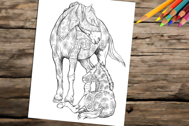 Kleurplaten Voor Volwassenen Paarden.Volwassene Kleurboek Pagina Uit Het Boek Kleurplaat Voor Etsy