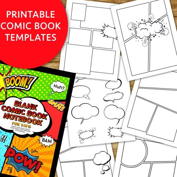 Comic Book Strip Templates Superhero Cartoon Blank Digital Paper Clipart Create Your Story Diy Comic Book Story Book Instant Download Pdf