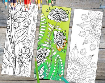 Instant Download Bookmark Coloring Page Designs Printable Downloadable Prints plus FREE Download Gift