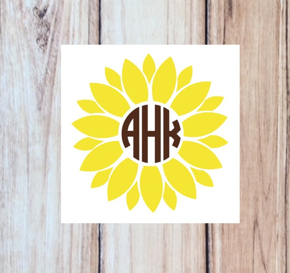 monogrammed sunflower decal personalized with your initials.
