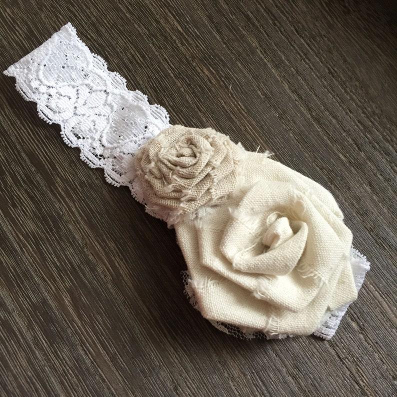 Handmade Rustic linen ribbon rose headband