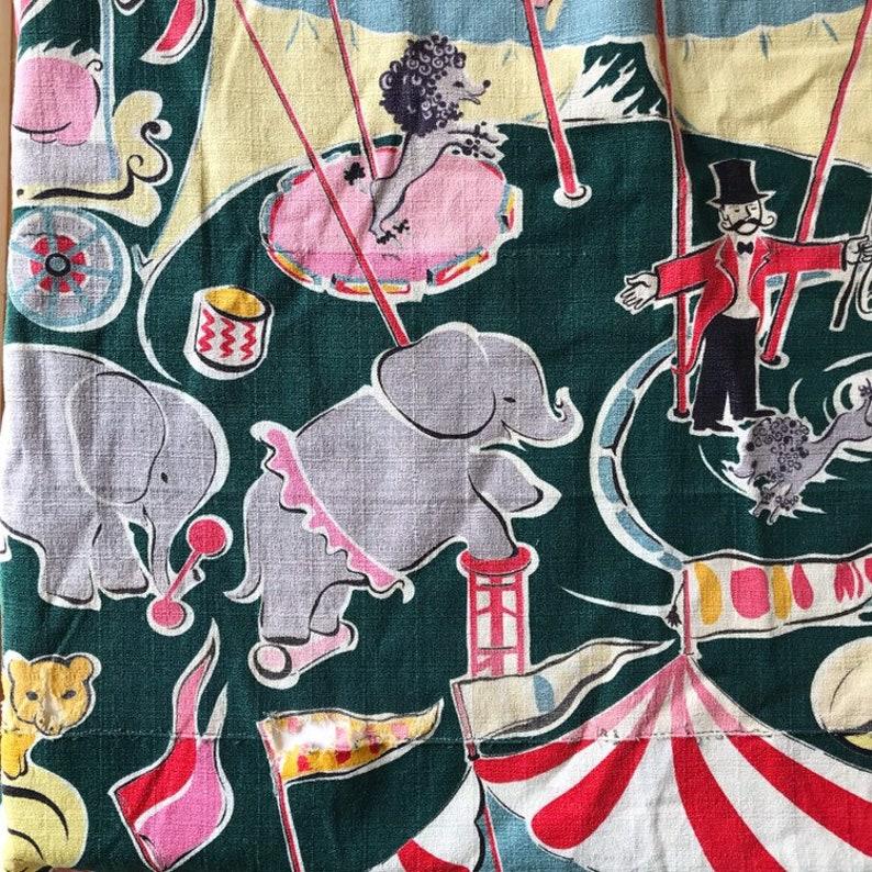 Adorable Rare Vintage Circus Barkcloth