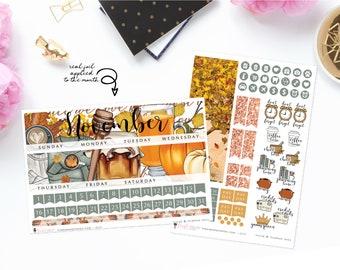 Sugar & Pumpkin Spice - Monthly Sticker Kit, ECLP Monthly Kit, ECPP Monthly Kit, HP Classic Monthly Kit, Happy Planner Mini Monthly Kit
