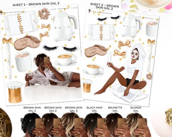 Late Morning Luxe - Planner Sticker Kit | Diverse Options Offered | Self Care stickers
