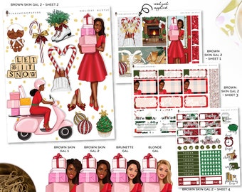 Holiday Hustle - Planner Sticker Kit | Diverse Options Offered | Christmas Stickers
