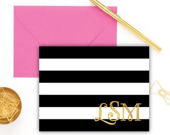 Handmade Black & White Personalized Notecards with Real Foil - Set of 10   Customized Stationery with Monogram, Name or Initials