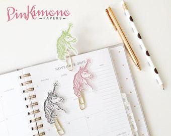 Pretty Unicorn Planner Clip / Bookmark & Sticker Book with Real Foil   Planner Accessories   Unicorn Stationery