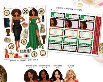 Celebrating Kwanzaa - Planner Sticker Kit | Diverse Options Offered | Kwanzaa stickers