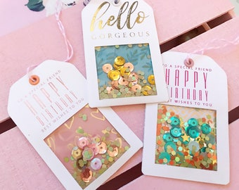 Handmade Gift Tags - Small Shaker Tags with Real Foil & Glitter - 3 Celebration Tags   Gift Wrapping