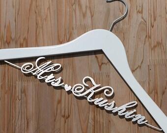 Personalized Wedding Hanger, Bridal Hanger, Bride Bridesmaid Name Hanger Laser Cut, Bridal Shower Gift, Unique Wedding Gift vet0005