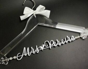 Clear Wedding Hanger, Custom Bridal Hanger, Wedding Dress Hanger, Bride Bridesmaid Name Hanger, Bridal Shower Gift, Wedding Party Gift TM052