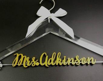 Personalized Wedding Hanger, Clear Bridal Hanger, Bride Bridesmaid Name Hanger Laser Cut, Bridal Shower Gift, Unique Wedding Gift TM051