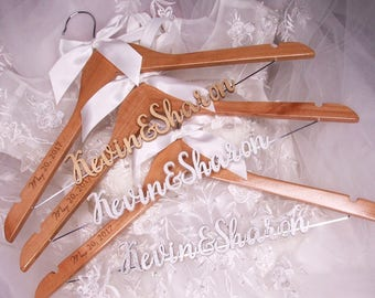 Personalized Wedding Hanger with Date, Custom Wedding Dress Hanger, Bridal Hanger, Bridesmaid Hanger, Bridal Shower Gift, photo prop vet0004