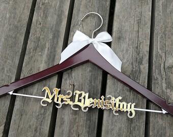 Bridal Shower Gift, Custom Bridal Hanger,  Wedding Dress Hanger, Personalized Wedding Hanger,  Bridesmaid Dress Hanger, Shower Gift VTP0013