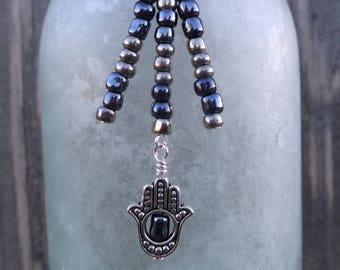 Wine Bottle Charm, Bottle Decor and Gift: Hamsa / Fatima Hand with Dark Blue and Silver glass beads.