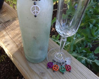 Peace Sign. Set of Wine Charms: Bottle Charm (1) & Wine Glass Charms (4). Stainless Steel with Peace Sign Beads.
