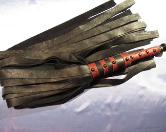 Black Leather Flogger with Red Accents, Extra Long Flails - Mature