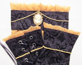 Fingerless Guantlets/Choker Set - Gold and Black with Cameo
