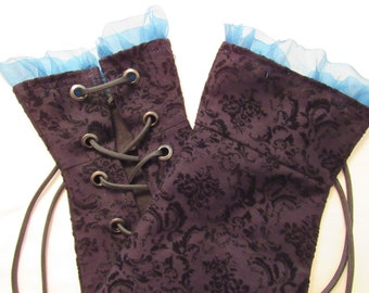Fingerless Gauntlets (Gloves) with Blue Accent