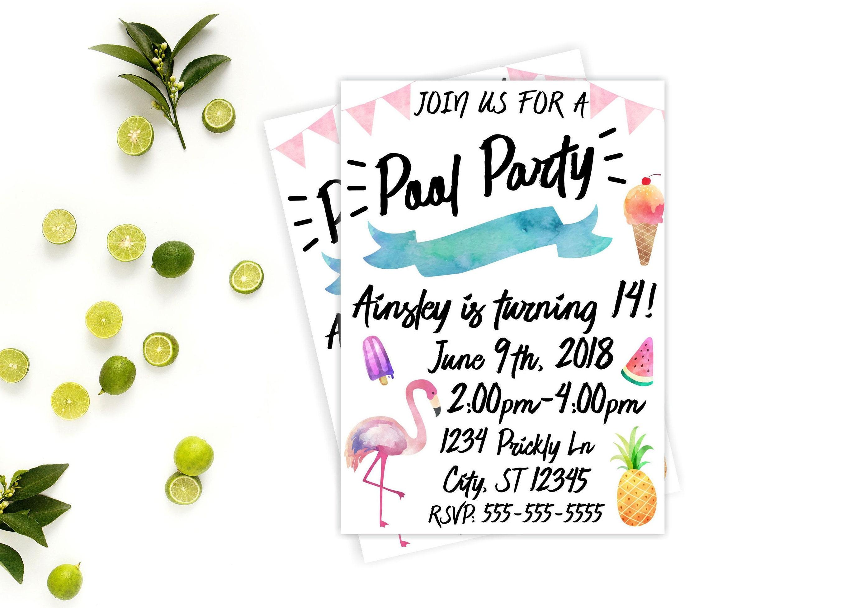 Pool Party Invitation Beach Birthday Party Invite Summer | Etsy