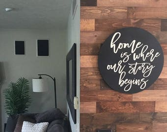 Home is Where Our Story Begins  Circle Sign