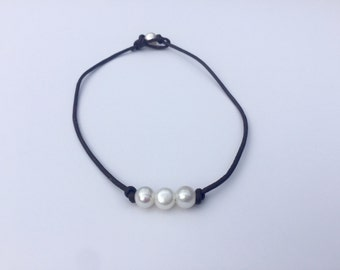 Three Freshwater Pearl Leather Necklace