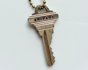 Vintage Inspire Key Necklace/ Jewelry / Stamped Vintage Key / Inspire Key Pendant/ Hand Stamped/ Gift For Her/ Gift For Friend/ Steampunk /