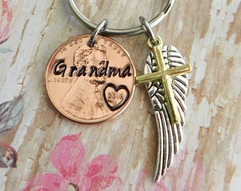 Grandma Memorial Keychain /Cross Keychain/ Sympathy Gift/ Angel Keychain/ Loss of A Loved One/Wing Gift /Loss of Grandma /Angel Heart